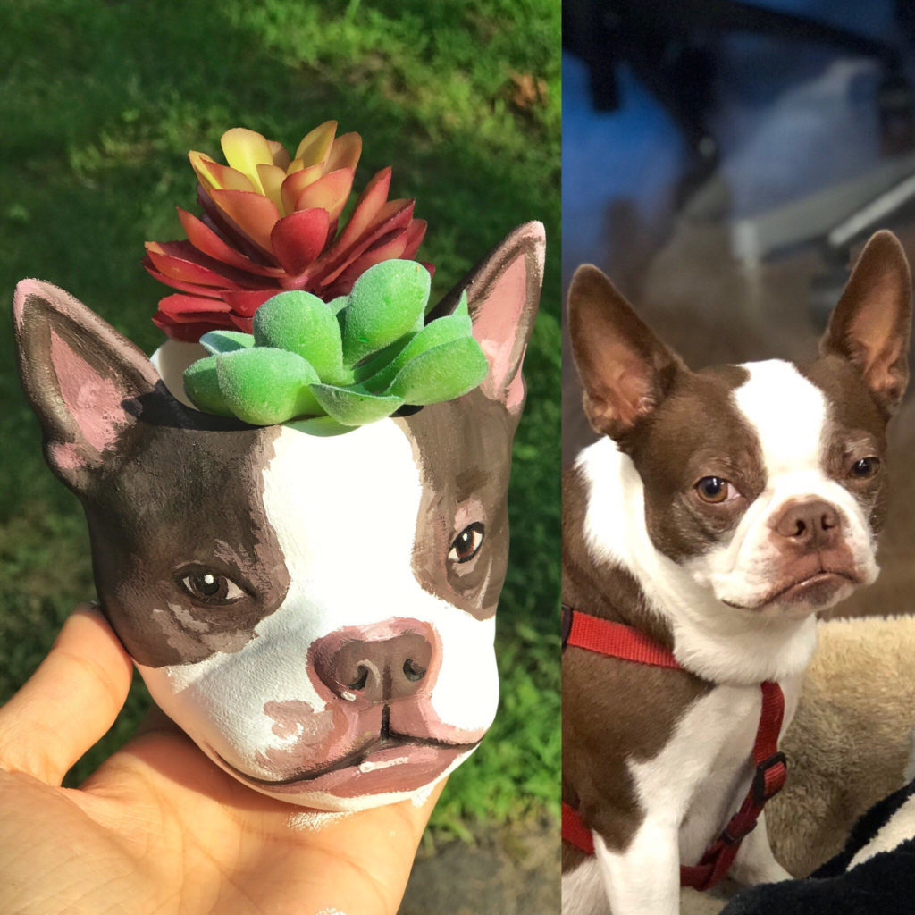 French bull dog customized planter gift