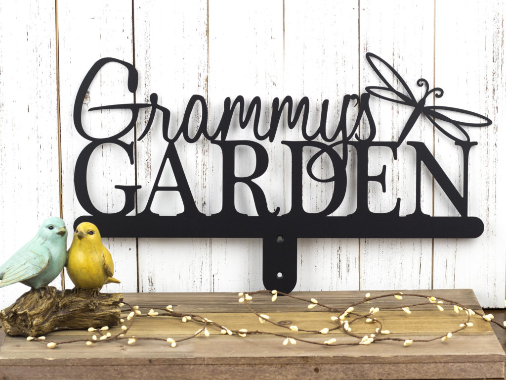 personalized garden stake that says grammy's garden