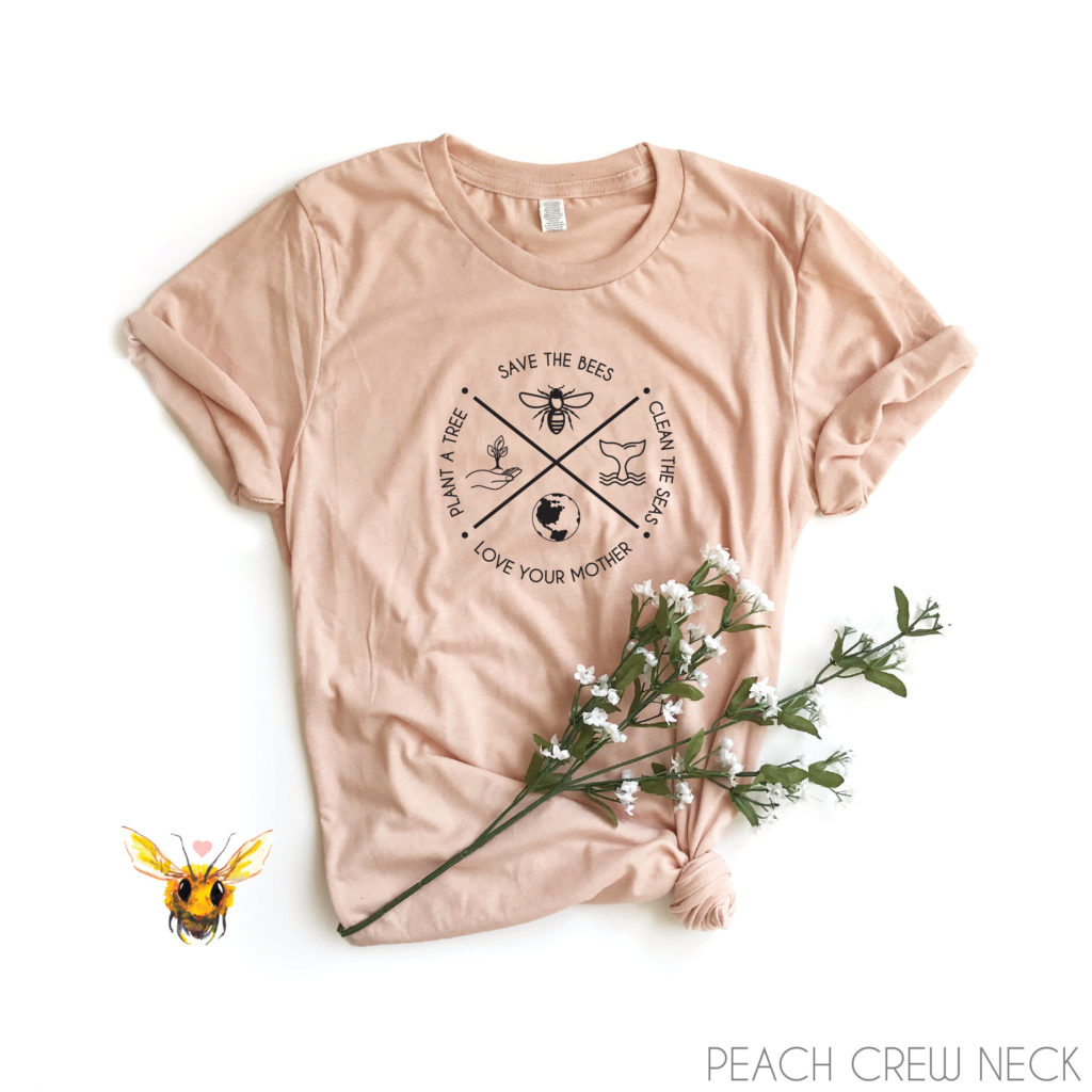 pink save the bees tshirt for mother's day gift