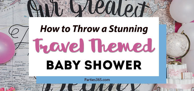 A travel themed baby shower is a perfect idea as the adventure into parenthood begins! Get ideas from vintage maps to custom invitations, favors, decorations and even creative food in this beautiful baby shower held in an airplane hanger! #babyshower #travel #adventuretheme #partyideas