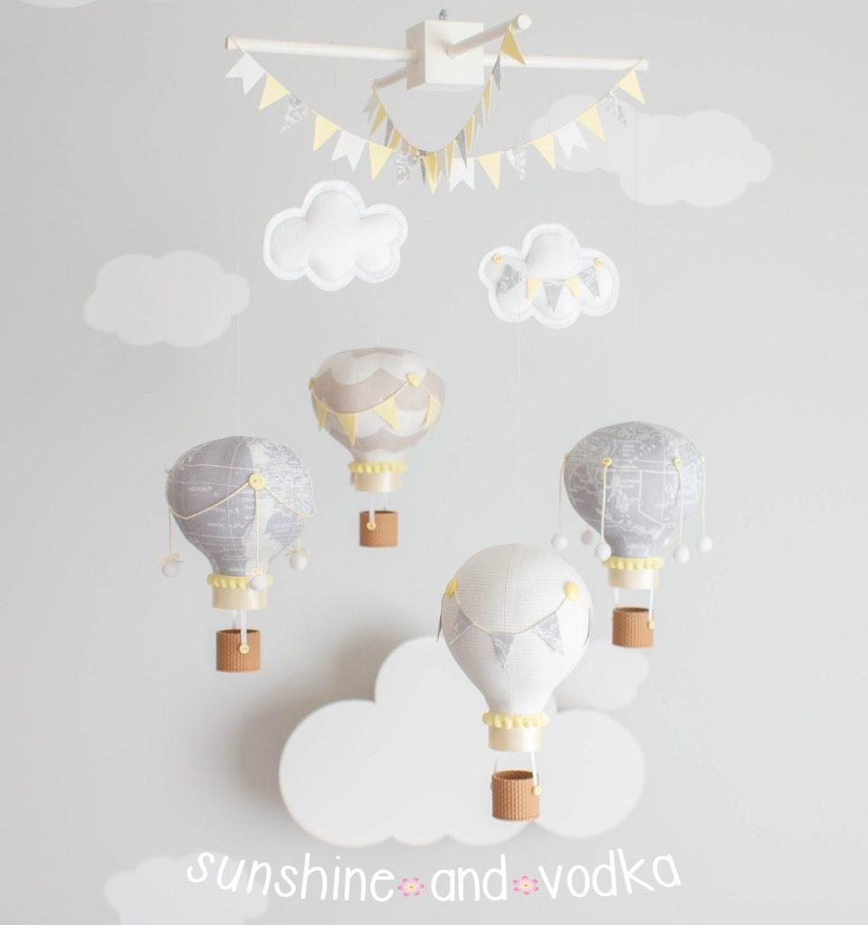 hot air balloon mobile for nursery