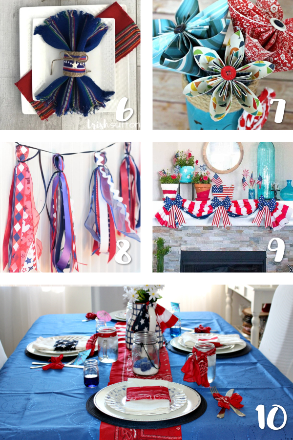 Here are 15 Fabulous Ideas for Patriotic Party Decor! This 4th of July, bring on the red, white and blue with easy DIY decorations and crafts for your party! We have ideas to dress us your table, wreath, mantle and more so your event is as hot as the summer sun! #patriotic #4thofjuly #redwhiteblue #partydecor #memorialday #laborday