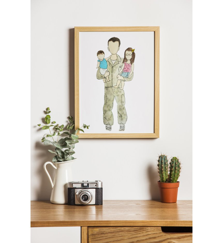 daddy and me custom watercolor print in a frame