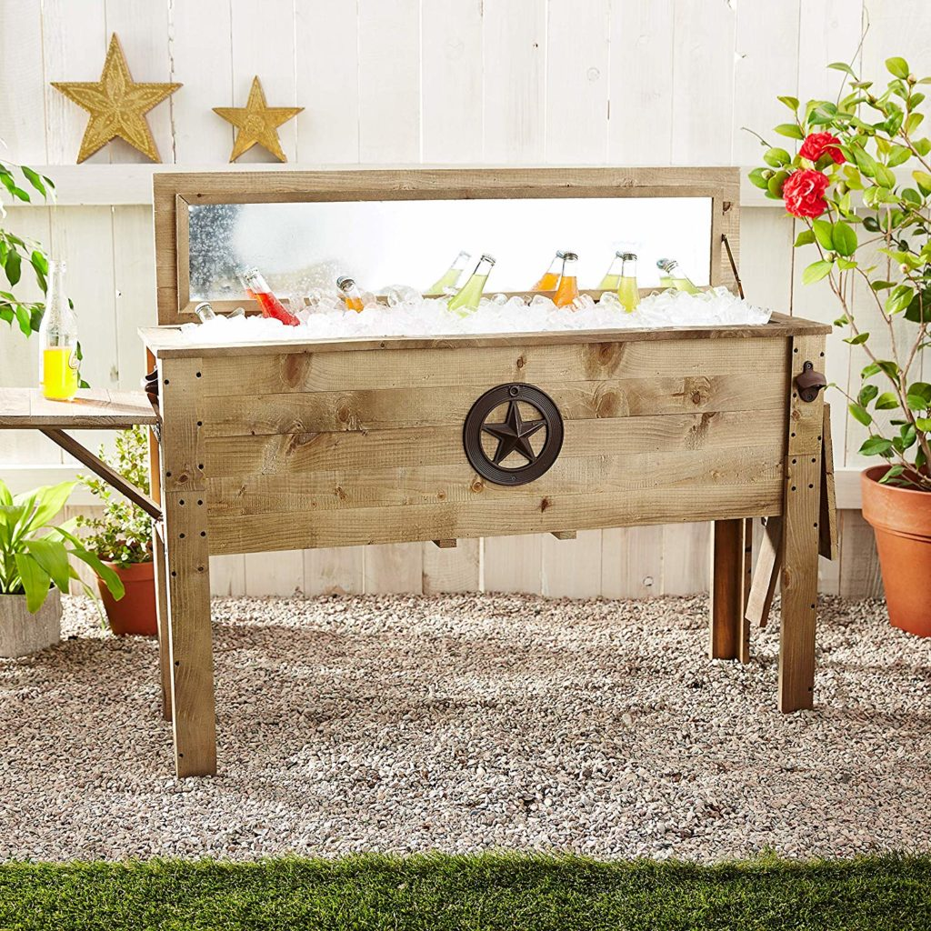 rustic outdoor cooler for him