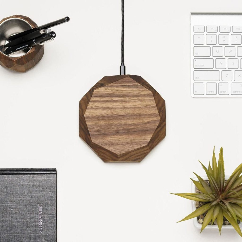 wooden wireless charging station for phone