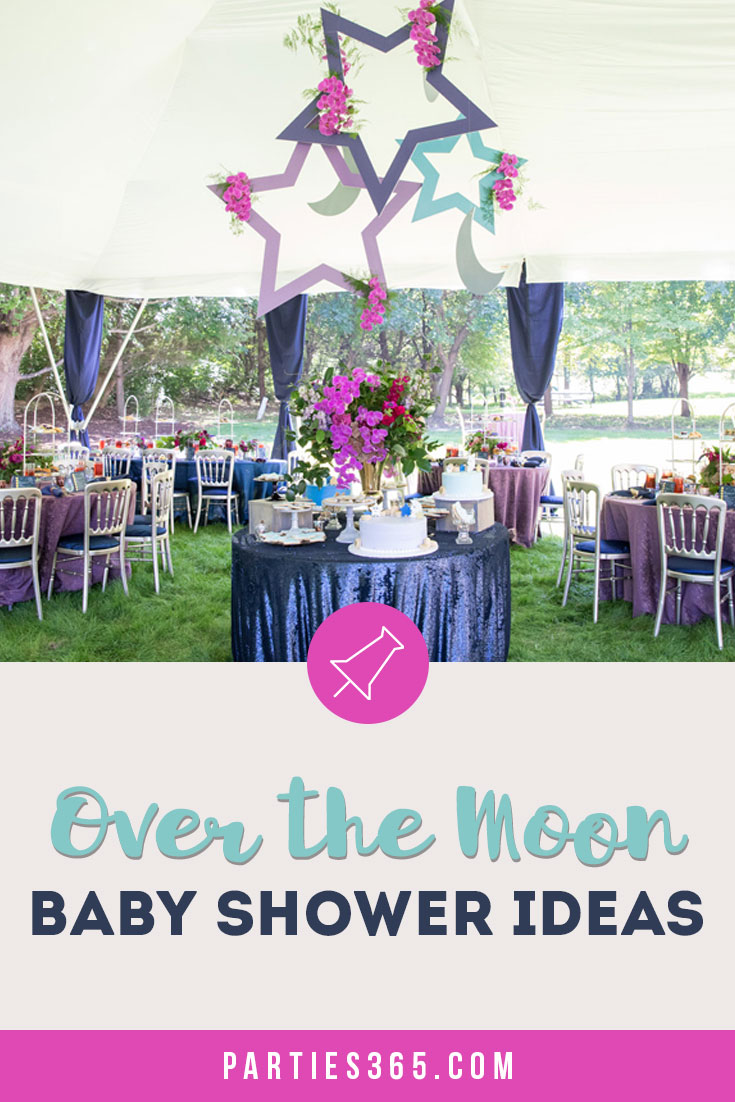 Looking for the perfect baby shower theme? An Over the Moon shower lends itself to so many great ideas for a baby girl or boy! Check out this darling Over the Moon shower for ideas for invitations, food, decorations and other themed products to make yours a shower to remember! #overthemoon #babyshower #babyshowerideas #babyshowerthemes