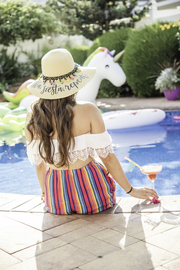 bride to be at bridal shower fiesta pool party