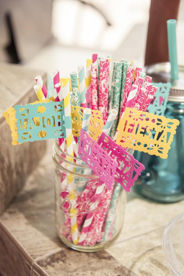 bridal shower fiesta paper straws