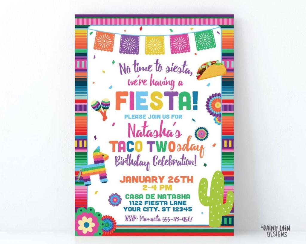 taco twosday second birthday party invitation