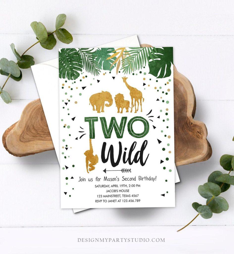 two wild safari birthday invitation