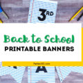Celebrate Back to School with a notebook paper inspired printable party banner! This free downloadable DIY School Themed Party Banner is the perfect idea for parties, first day pictures or just to add a little fun to the end of summer. #backtoschool #partyprintable #printable #firstdayofschool