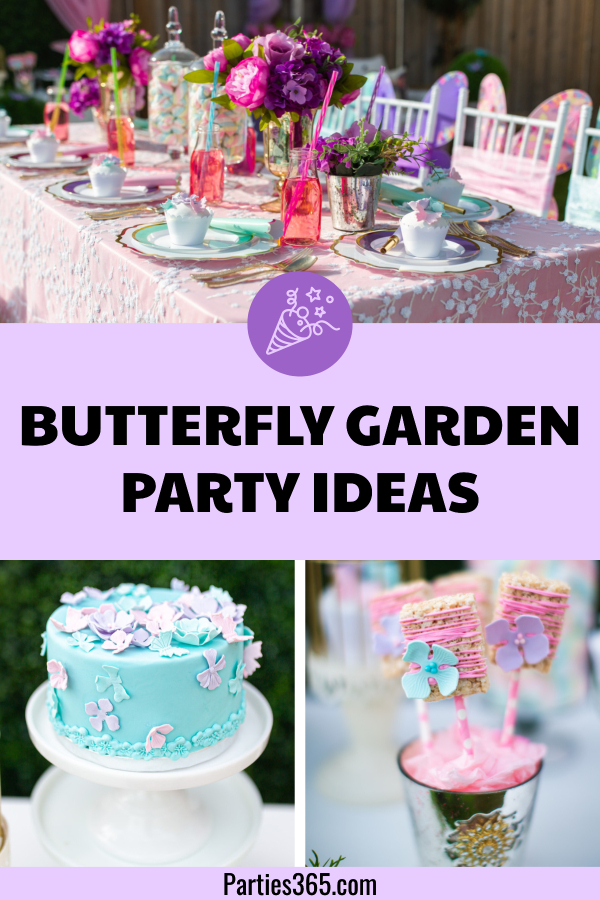 This delightful butterfly garden themed kids birthday party is full of ideas for your next backyard party! Colorful decorations, food, centerpieces, favors and cake make this theme perfect for children of all ages! #butterflyparty #birthdayparty #kidsparty #partyideas