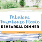 Looking for fun and unique ideas for a casual outdoor wedding rehearsal dinner party? You'll adore this Backyard Picnic on a farm! Find inspiration for decorations, food and more at this DIY farmhouse picnic. #rehearsaldinner #picnic #dinnerparty #weddingideas