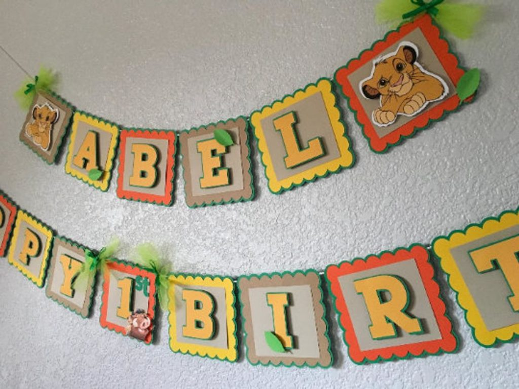 personalized lion king birthday banner