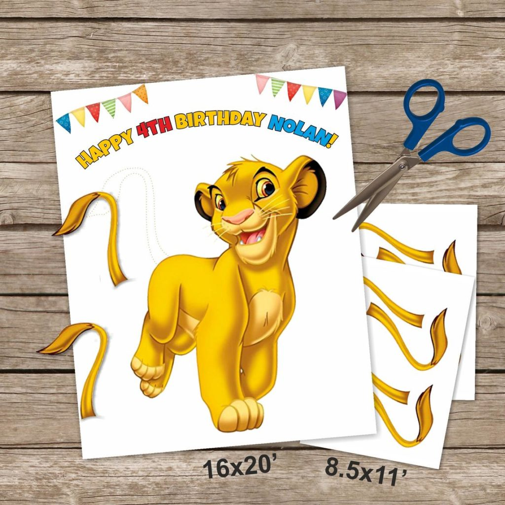 lion king party game idea pin the tail on the lion