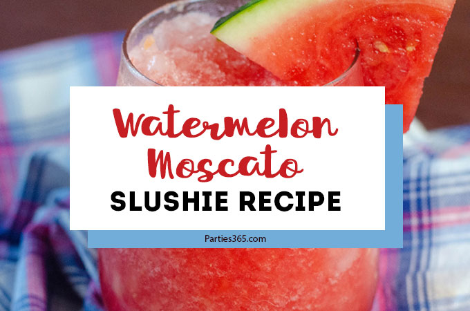 Want an easy, fresh recipe for a Watermelon Cocktail this summer? Our Watermelon Moscato Slushie is the perfect white wine frozen slush! Just fill a pitcher, pour it out for a crowd and watch everyone enjoy! #watermelon #winecocktail #summercocktailrecipe #slushie