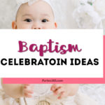 This simple Baptism party at home has ideas for lovely decorations with a beautiful backdrop that will work for a boy or a girl. Create an elegant dessert or food table your guests will adore! #baptism #baptismideas #partydecor #baptismparty