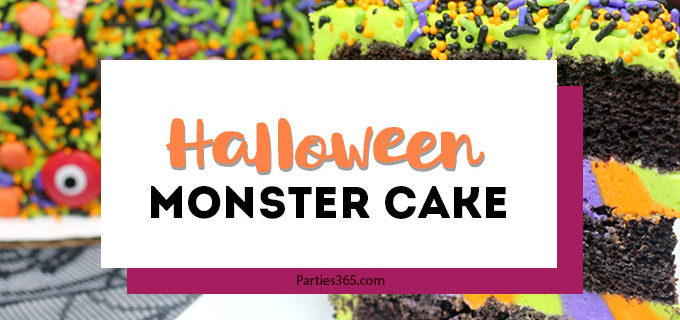 This easy and fun Halloween Monster Cake is a cute idea for kids this fall! Our DIY recipe is simple to follow and you'll create a spooky and amazing monster cake everyone will adore! #Halloween #halloweenrecipes #halloweencake #monster #monstercake
