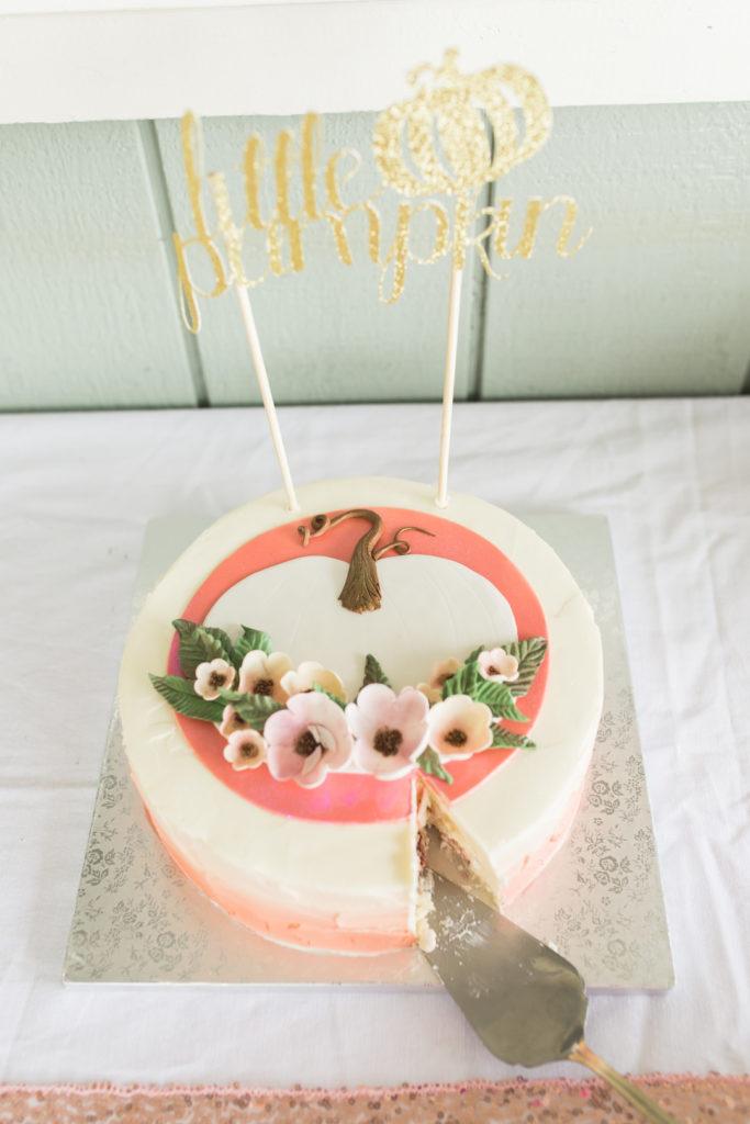 little pumpkin themed baby shower cake
