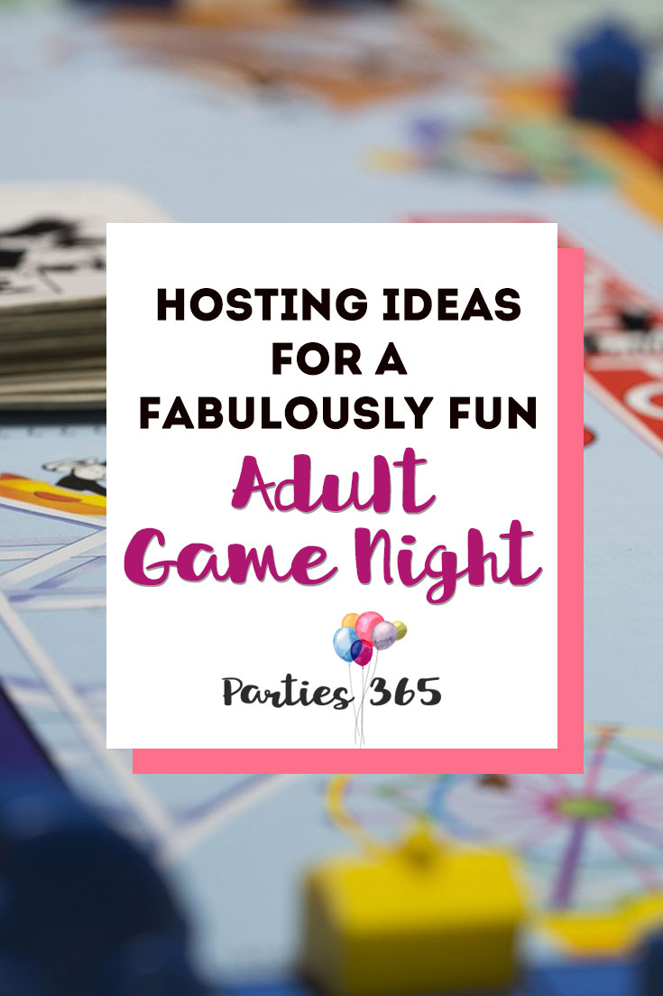 Need ideas for hosting a fabulously fun grown up group Game Night for adults? Whether it's family or friends, here's your plan for Game Night snacks, food, drinks, party games and more! #gamenight #partygames #partyideas