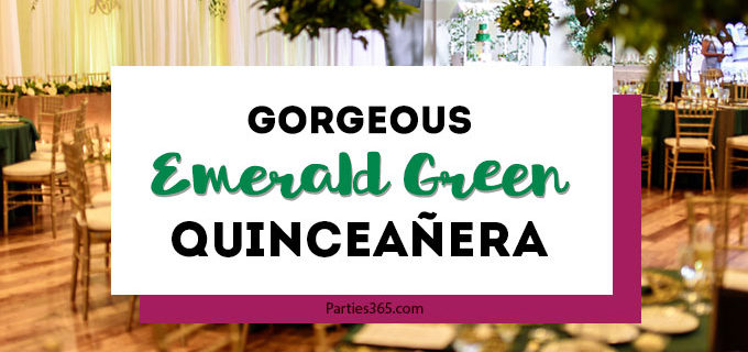 Planning a quinceañera and need ideas for fabulous decorations, themes or dresses? You'll adore this non-traditional emerald green quinceanera with bright colors, dress and lovely centerpieces! #quinceanera #15thbirthday #quinceañera #emeraldgreen #birthdayideas