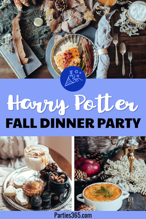 Thinking of hosting a dinner party and need ideas for a fun fall theme? How about a fancy Harry Potter themed dinner party for adults? From food to tablescapes, decorations and table settings, this feature will inspire a fun night with friends! #dinnerparty #harrypotter #falldecor #fallparty #tablescape