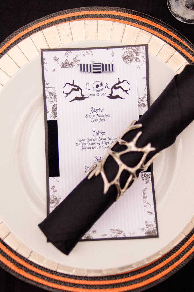 Jack and Sally Halloween dinner party menu