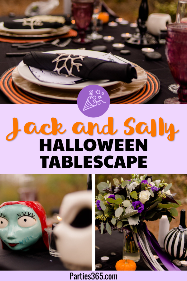 Jack and Sally, Nightmare Before Christmas inspired Halloween Tablescape