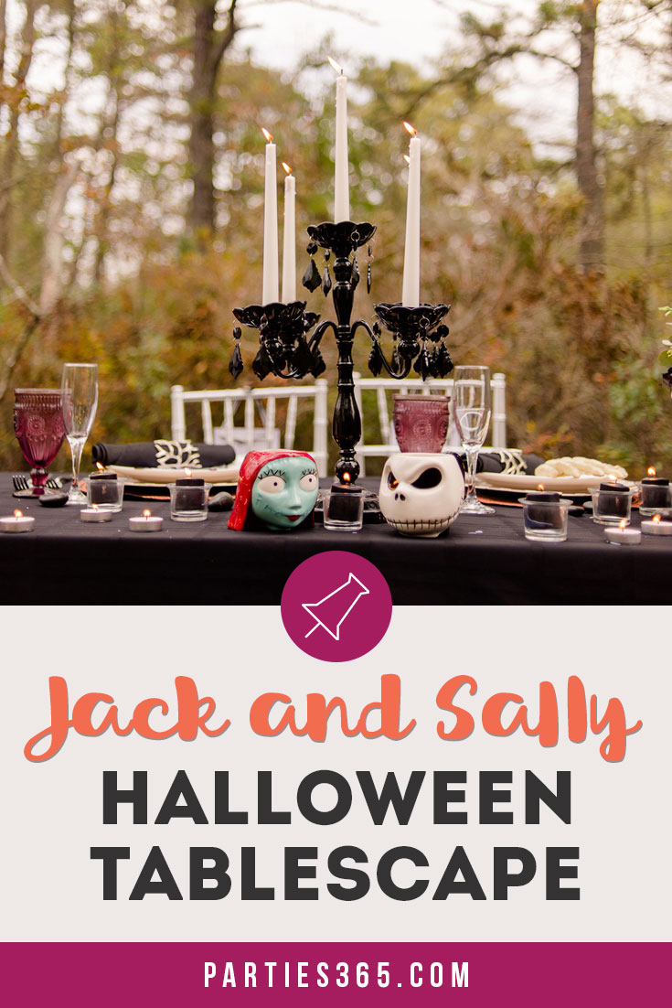 Jack and Sally Nightmare Before Christmas inspired Halloween Tablescape