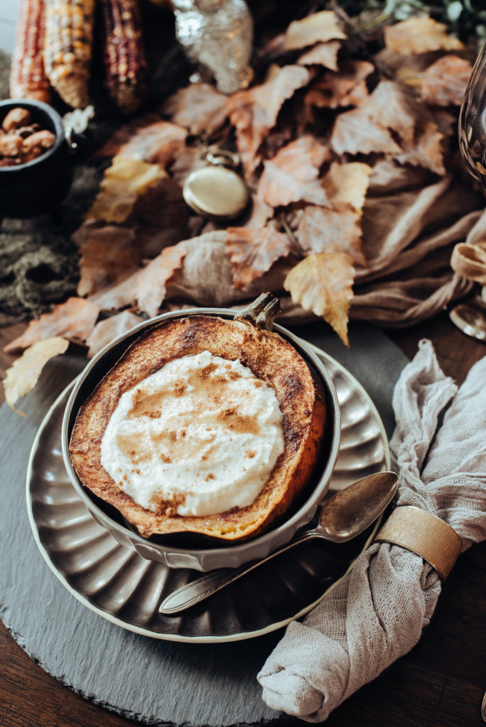 roasted acorn squash with whipped ricotta at fall dinner party