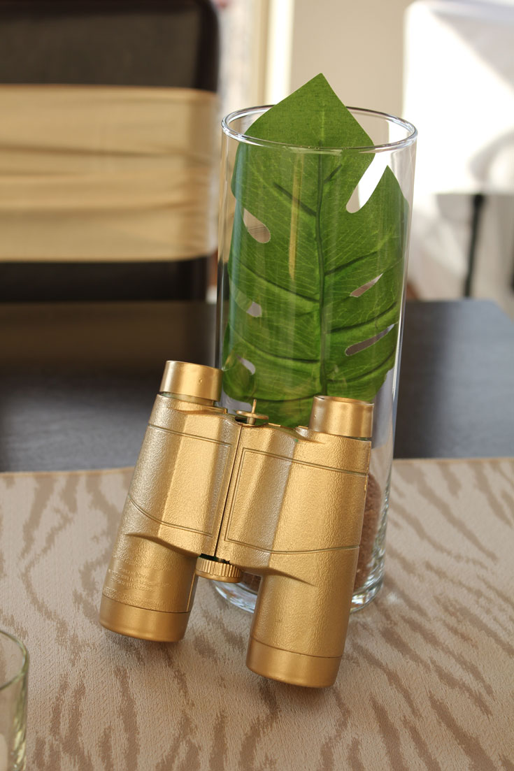 gold binoculars at baby shower