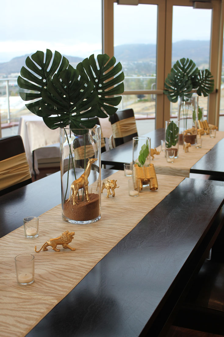 centerpiece ideas at gold safari themed baby shower