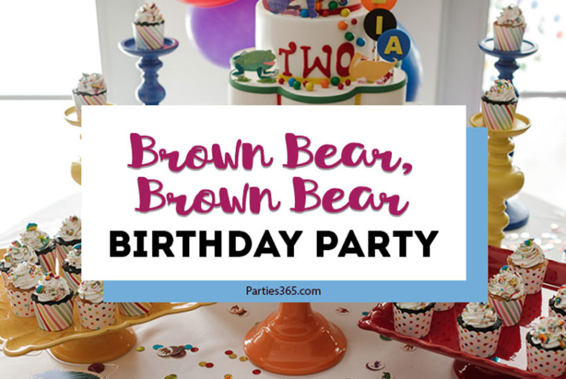 This darling 2nd birthday party featured a Brown Bear Brown Bear by Eric Carle theme! With vibrant colorful decorations, giant animals and amazing cake and cupcakes, it's full of fabulous ideas to bring this book to life! #brownbear #ericcarle #2ndbirthday #partyideas