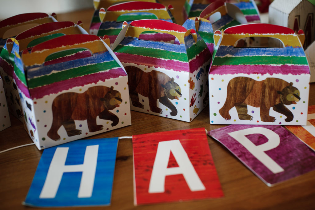 brown bear birthday party favor boxes
