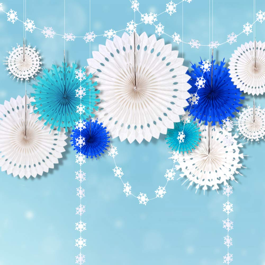 white and blue paper fans for Frozen party