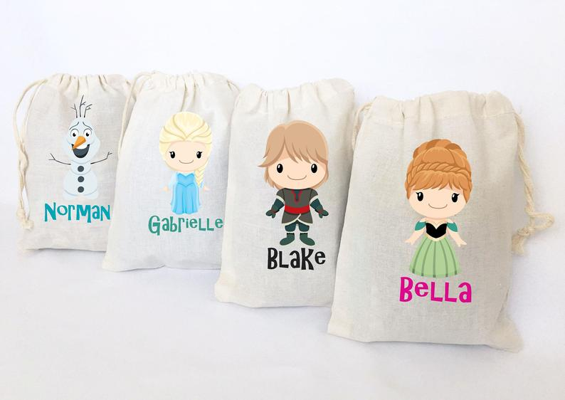 personalized frozen party favor bags
