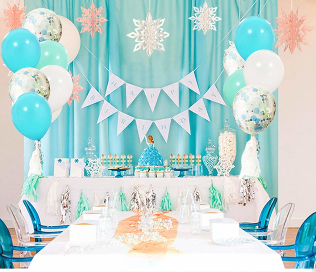 Frozen Birthday Party balloons in white and teal with confetti