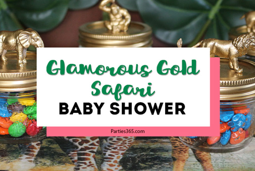 This Glamorous Gold Baby Shower Safari is full of fabulous tropical decorations! A jungle theme is neutral and works for a boy or a girl and we have great ideas for decor, centerpieces, favors and more! #babyshower #safari #jungle #partyideas