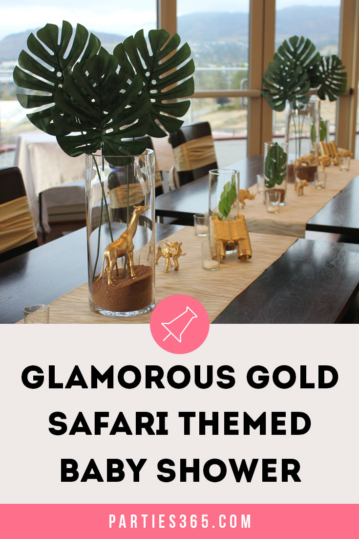 gold safari themed baby shower ideas