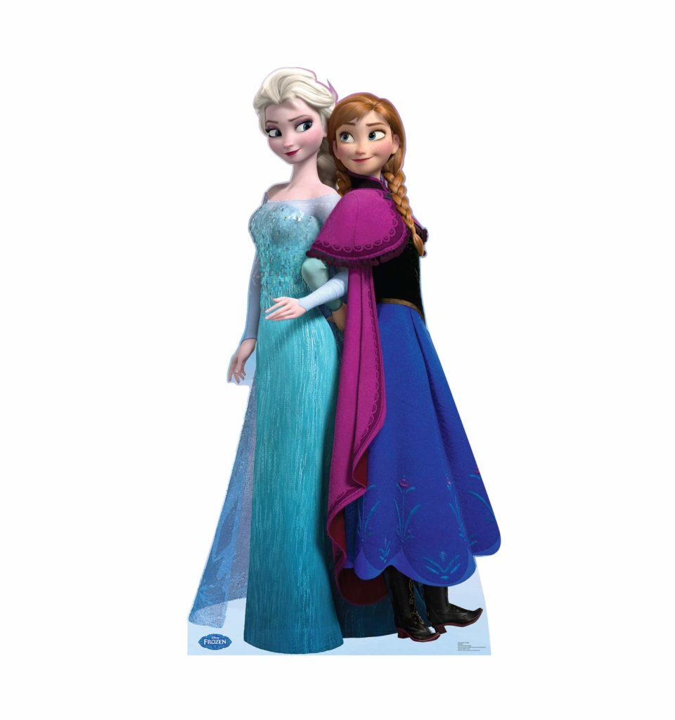 Frozen Birthday Party cutouts of Anna and Elsa