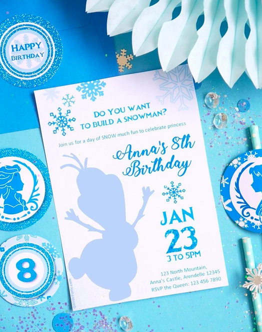 Frozen Birthday Party invitation with Olaf