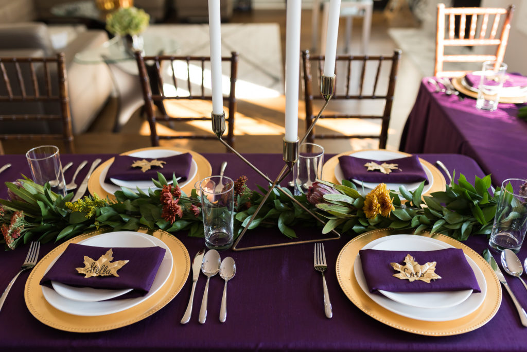 purple and gold thanksgiving place setting ideas