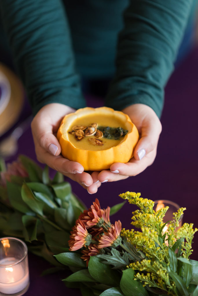 mini squash as serving dish at thanksgiving dinner