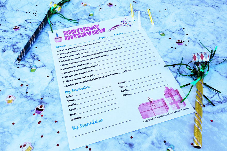 free Birthday Interview Printable for kids