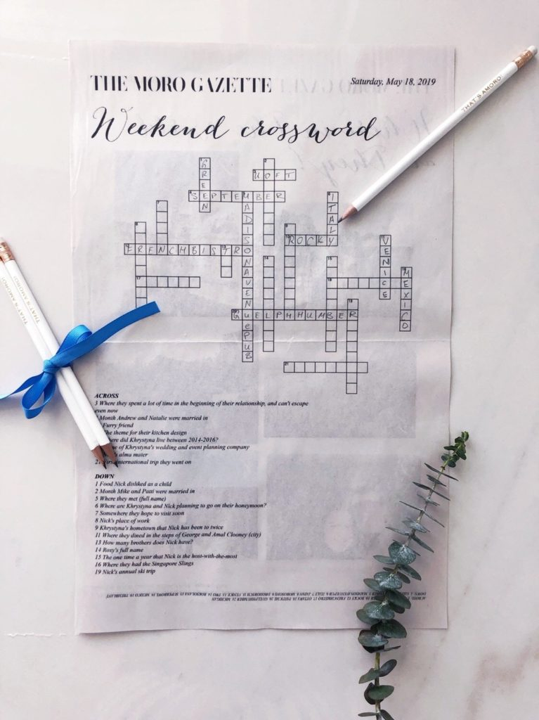 custom crossword puzzle for engagement brunch party