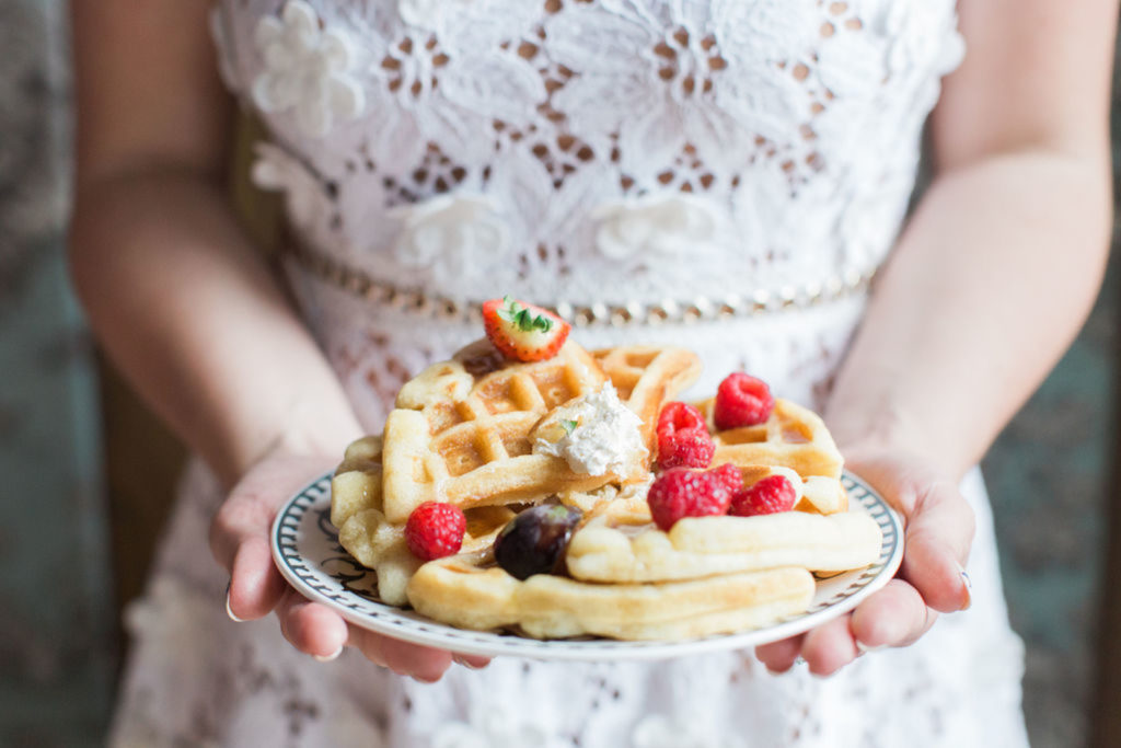 waffles at engagement brunch party