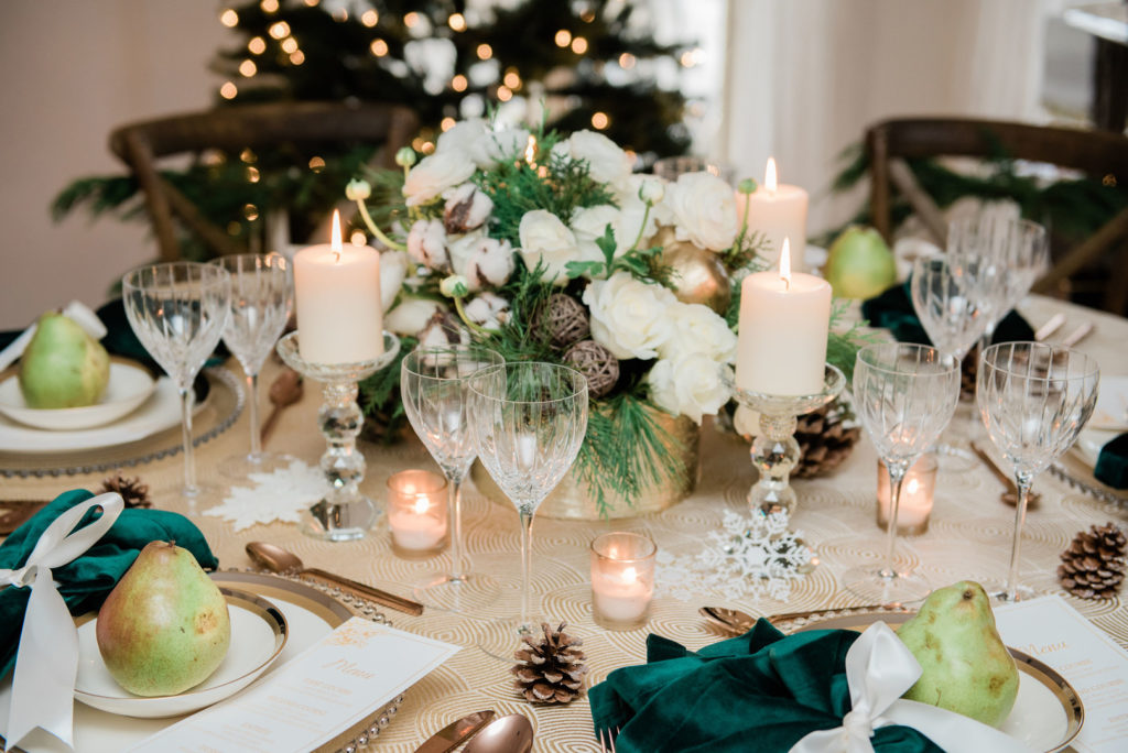 vintage Christmas tablescape ideas in white and green