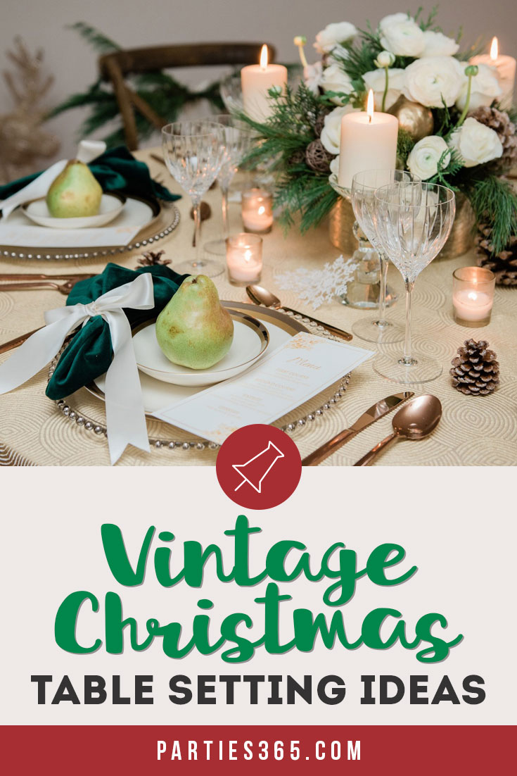 Vintage Christmas table setting ideas