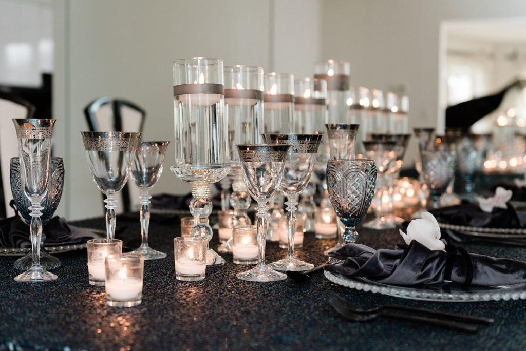 Hanukkah dinner table and centerpiece