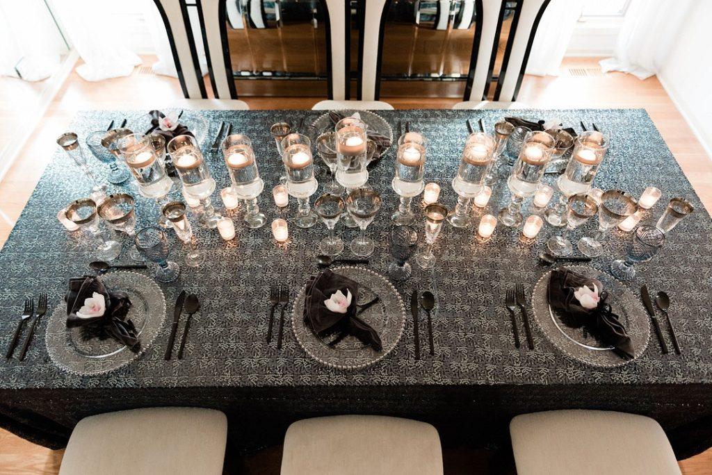 Hanukkah dinner tablescape and centerpieces